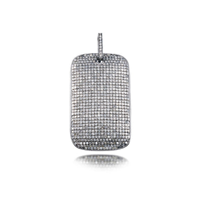 Raw Diamond Dog Tag Charm