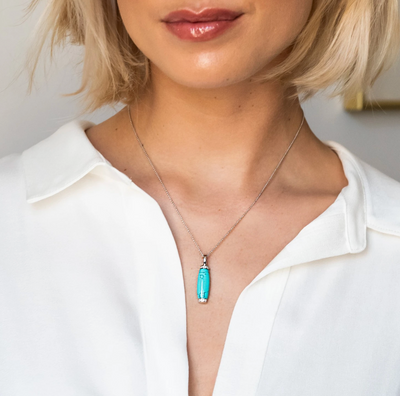 Rectangle Turquoise Pendant Milano Silver Necklace