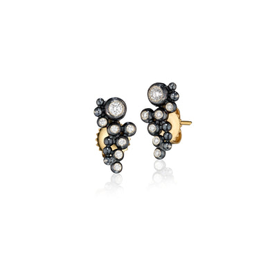 Rene Escobar Diamond Cluster Oxidized Stud Earring
