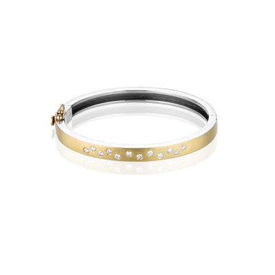 Rene Escobar Diamond Sparkle Yellow Gold Cuff Bracelet