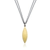Rene Escobar Yellow Gold Marquise Pendant on Double Chain
