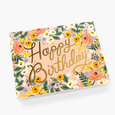 Rose Floral Happy Birthday Card