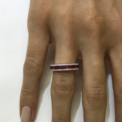 Precious Gemstone and Diamond Band in White Gold