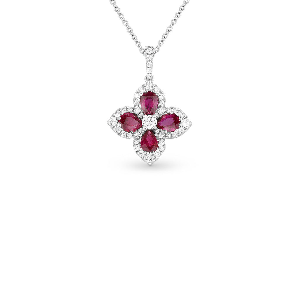 Ruby and diamond flower shape pendant necklace