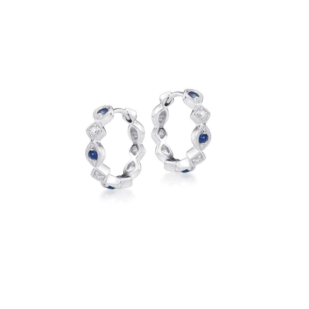 Sapphire and Diamond Alternating Shape Huggy Earring