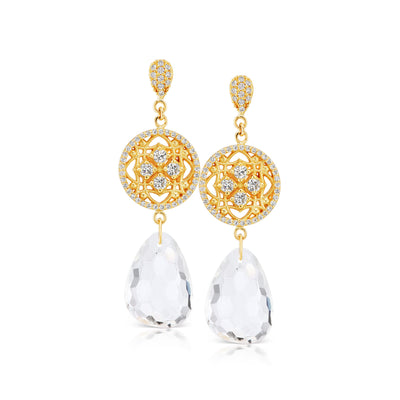Special event white topaz and diamond earring in 18k