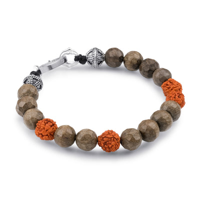 Scott Mikolay Grey Wood and Rundraksha Beaded Men's Bracelet
