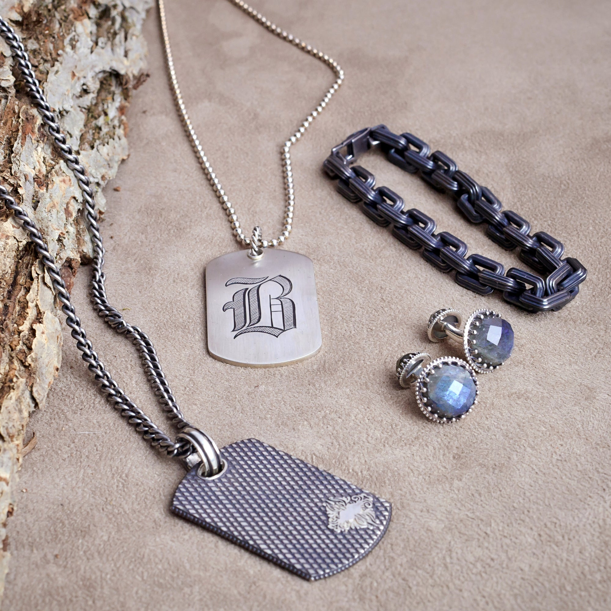 Scott Mikolay Patterned Dog Tag Necklace Desires by Mikolay