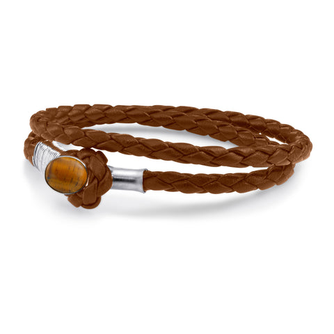 Scott Mikolay Essex Leather Bracelet with Stone Closure - Double Wrap