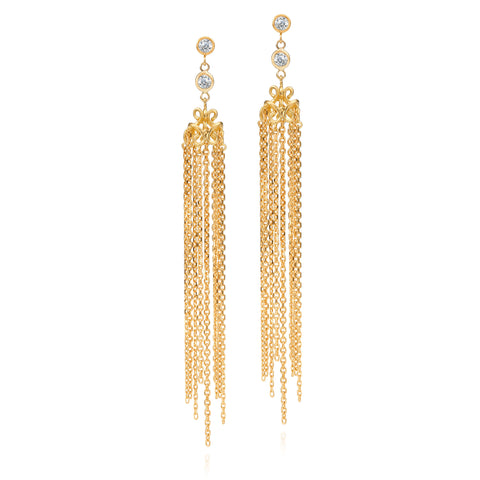Scott Mikolay Monarch Collection Diamond Earring with Gold Tassel