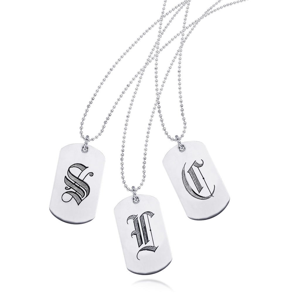 Scott Mikolay Initial Dog Tag Necklace