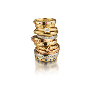 """Carpe Diem"" Poesy Ring with Sapphires in Yellow Gold"