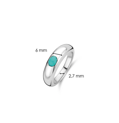 Silver Milano Ring with Oval Turquoise