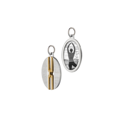 Two-Tone Pinstripe Oval Half Locket