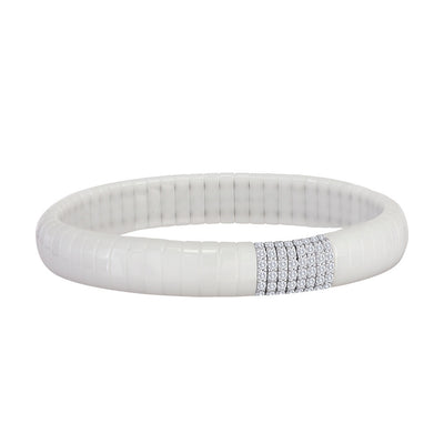 White Pave Diamond Bar Ceramic Skinny Cuff Bracelet