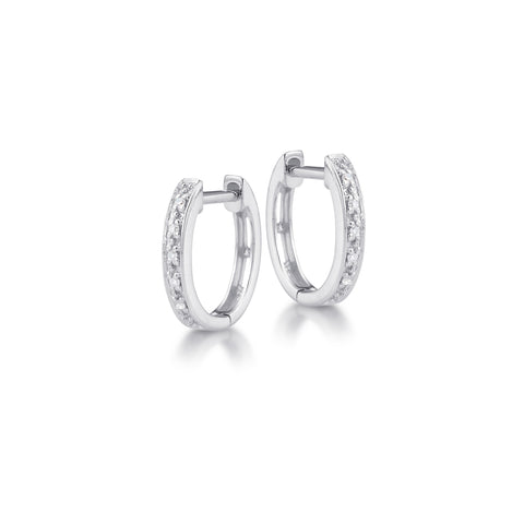 Small Diamond Huggy Hoop Earring in White Gold