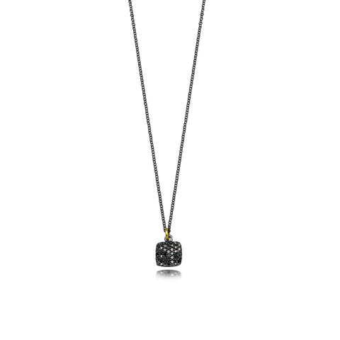 Pave Black Diamond Square Necklace