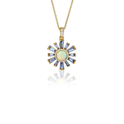 Sunburst Opal and Iolite Necklace