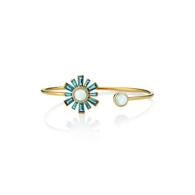 Sunburst Aquamarine and Blue Topaz Cuff