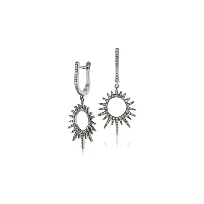 Oxidized Diamond Sunburst Diamond Huggie Earrings