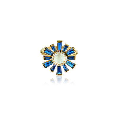 Sunburst Moonstone and Sapphire Ring