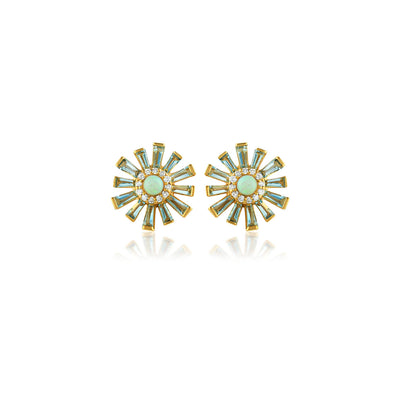 Sunburst Opal and Aquamarine Stud Earring