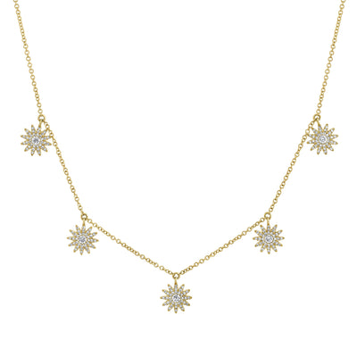 Diamond Sunburst Dangle Necklace in Rose, White or Yellow Gold