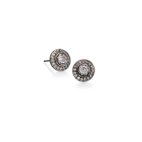 Round Rose Cut Crystal Stud Earring