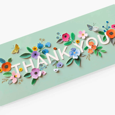 Cut Paper Flower Thank You Card