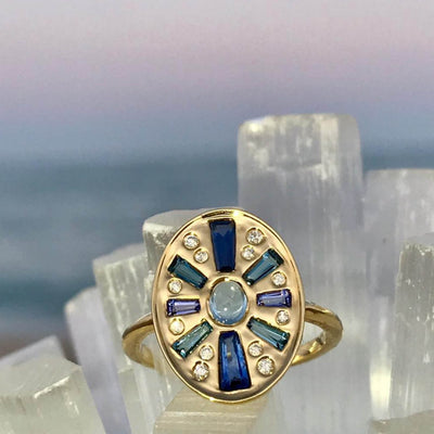 Sunburst Gemstone Signet Ring