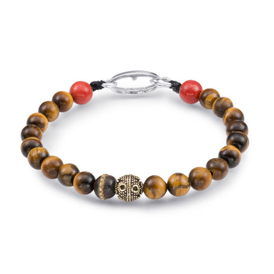 Scott Mikolay Tigers Eye with Red Coral Ends Men's Bracelet