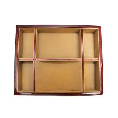 Burl Wood Valet Tray with 6 Compartments