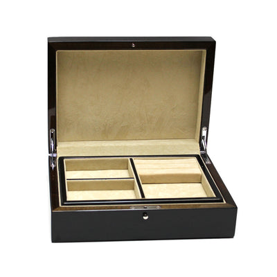 Black Wood Jewelry Box with Removable Tray
