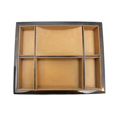 Black Wood Valet Tray with 6 Compartments