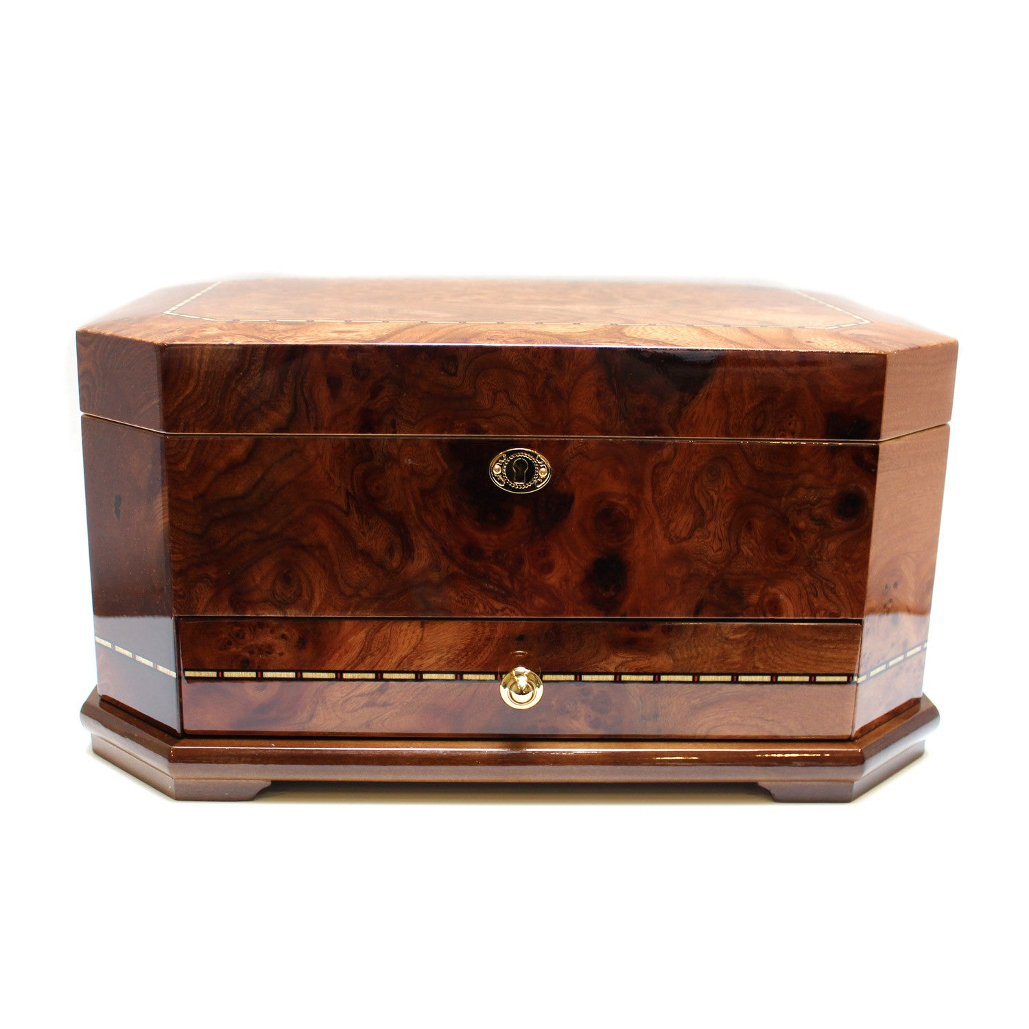 Chestnut Wood Jewelry Box with Pull Out Drawer - Desires by Mikolay