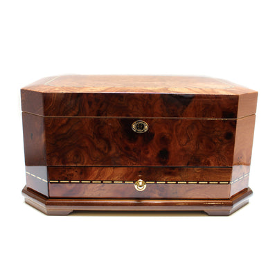 Chestnut Wood Jewelry Box with Hooks and Drawer