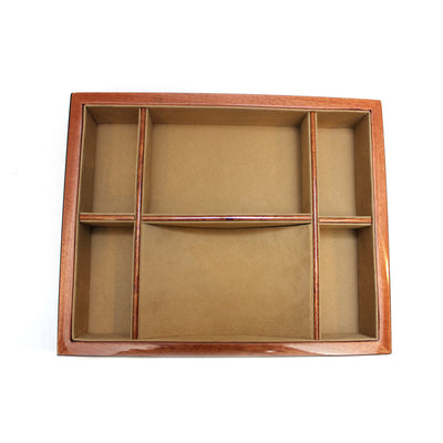 Natural Brown Wood Valet Tray with 6 Compartments
