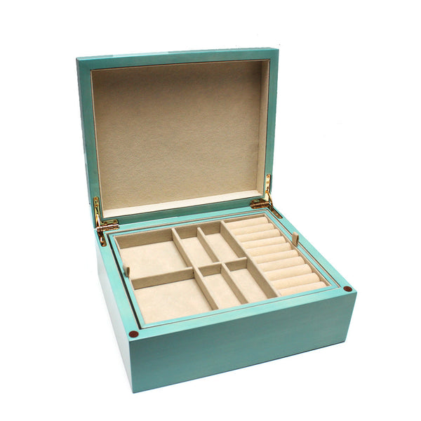 Turquoise Wood Jewelry Box With Removable Tray Desires