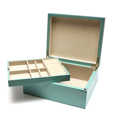 Turquoise Wood Jewelry Box with Removable Tray