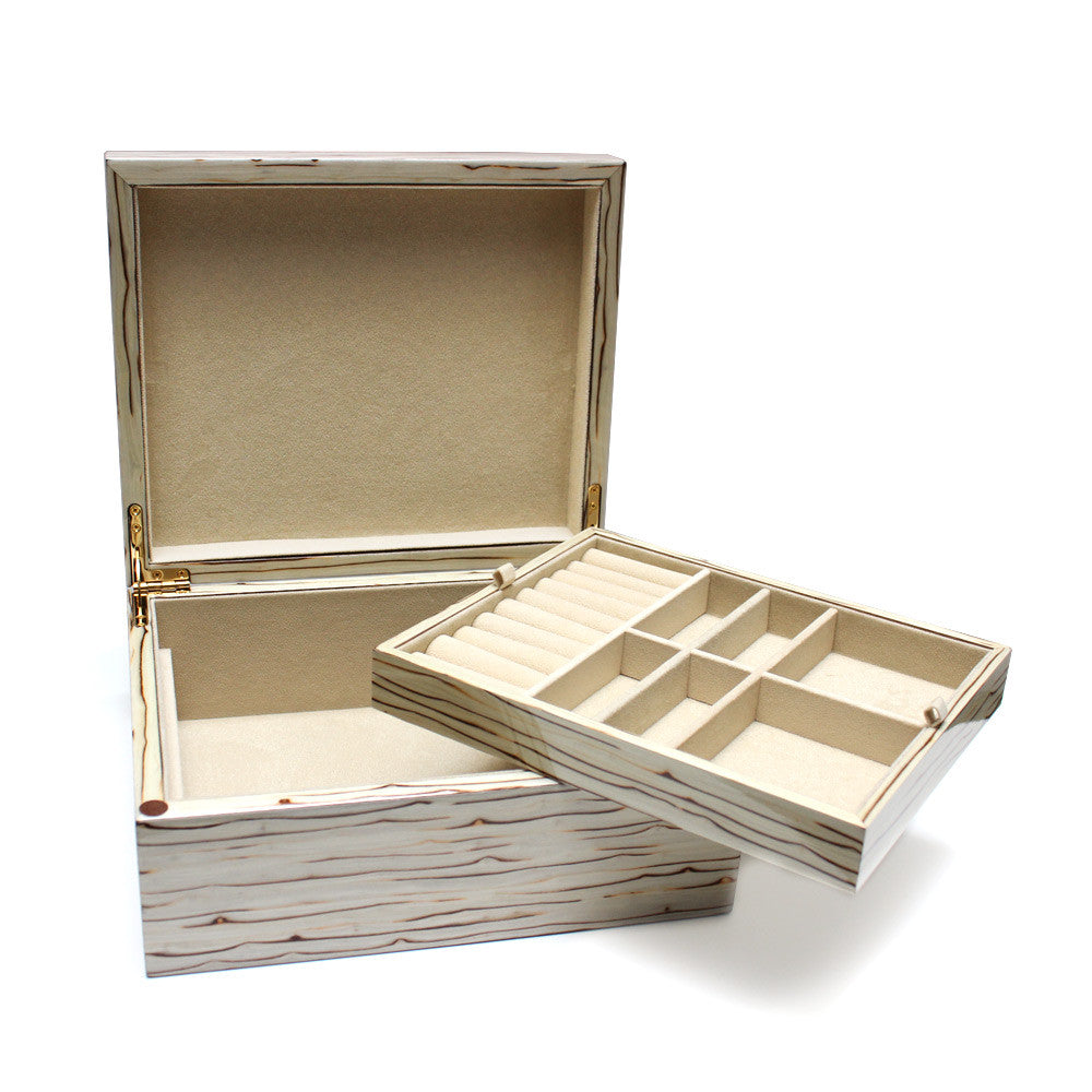 Designer Wood Jewelry Box with Removable Tray