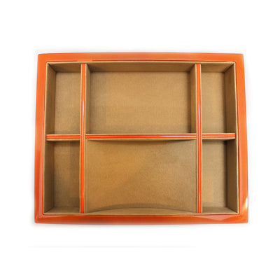 Orange Wood Valet Tray with 6 Compartments