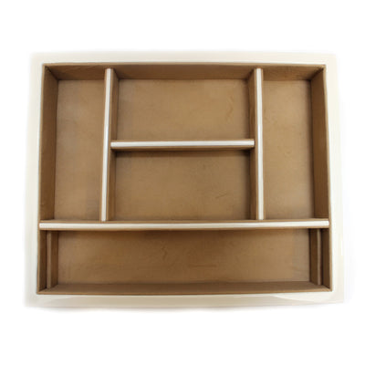 White Wood Valet Tray with 6 Compartments