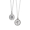 """Travel"" Global Compass Charm Necklace with Sapphires in Silver"