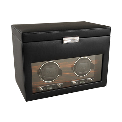 Leather Double Watch Winder with Wood Accents