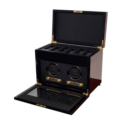 Savoy Wood Double Watch Winder with Storage
