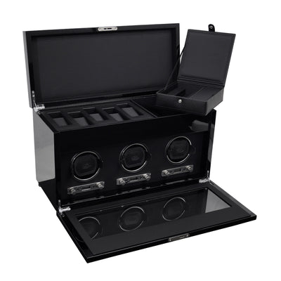 Savoy Wood Triple Watch Winder with Storage