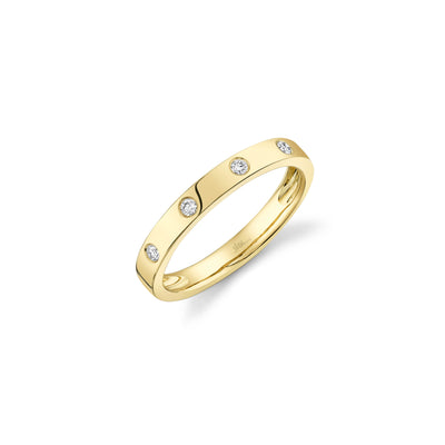 Diamond Burnished Halfway Band in Yellow Gold