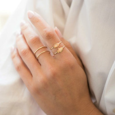 Zoe Lev Gold Diamond Hamsa Ring