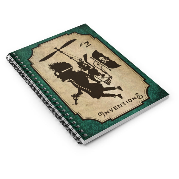 Inventions #2, the Air Pirate by LCKY JACK. Spiral Notebook - vintage notebook, steampunk notebook, steam flyer, air pirate, back to school, journal