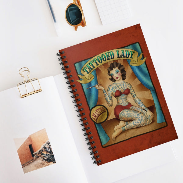 The Tattooed Lady by LCKY JACK. Spiral Notebook - Ruled Line, vintage, retro, circus, tattoos,